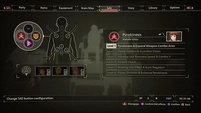 The bond skill levels SAS menu in Scarlet Nexus.