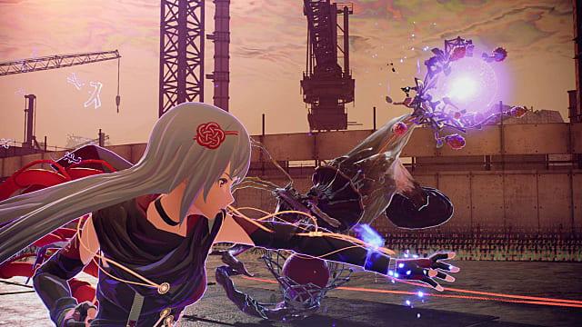Kasane attacking an enemy with psychokinesis.