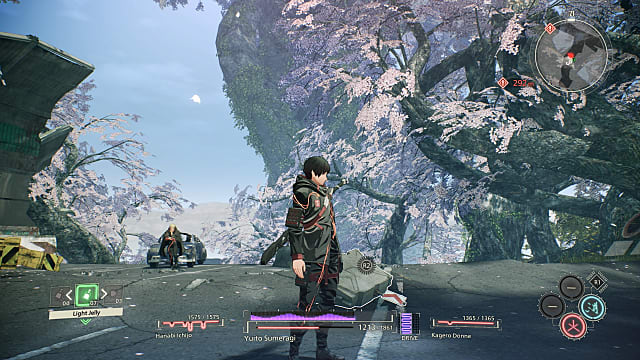 An in-gam screenshot of Yuito standing on a cliff surrounded by white leaf trees.