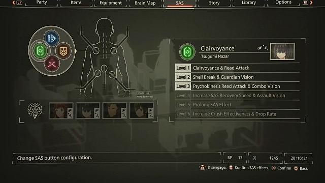 Scarlet Nexus SAS menu screen showing Tsumugi's Clairvoyance ability.