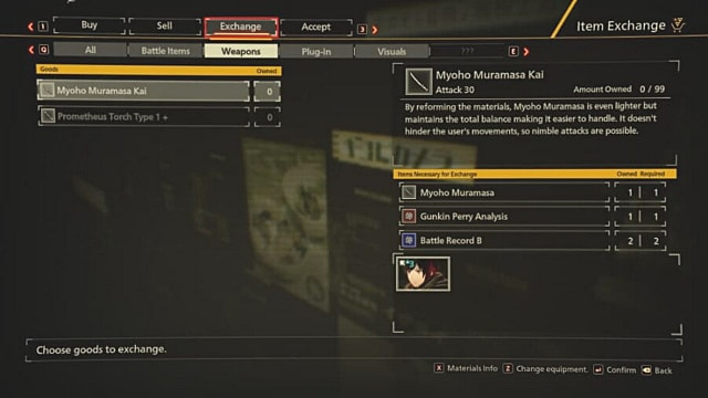 Scarlet Nexus Exchange tab showing Yuito's Myoho Muramasa Kai sword.