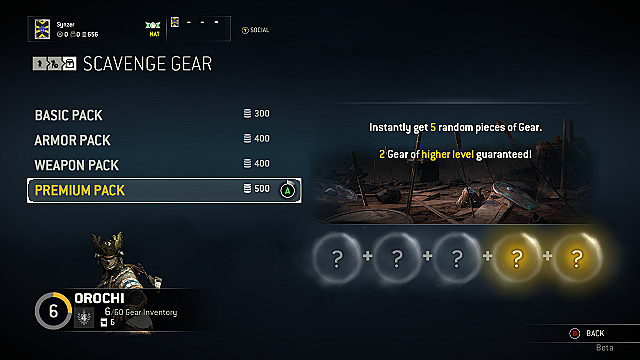For Honor scavenge gear