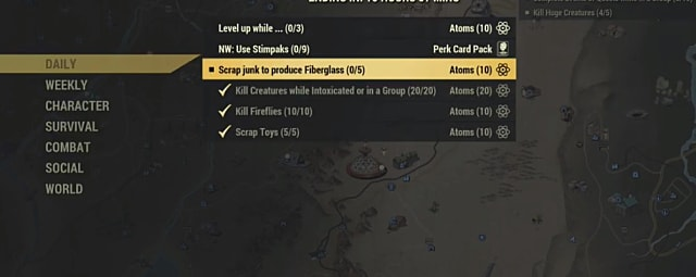 Scrapping junk items in a menu for fiberglass in Fallout 76.