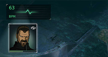 The fear meter and the health bar in Fear Effect Sedna