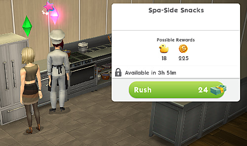 Sims preparing to begin the Spa-Side Snacks event in Sims Mobile Hot Tub Dreams