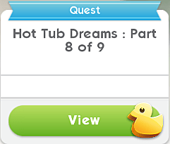 A quest dialog box indicating part 8 of 9 in the hot tub dreams sims mobile event