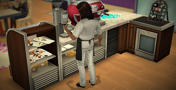 A Sim working behind the counter in The Sims Mobile