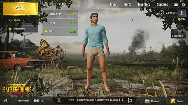 menu screen in PUBG mobile