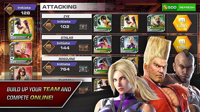Tekken Mobile fighters pose next to their character cards