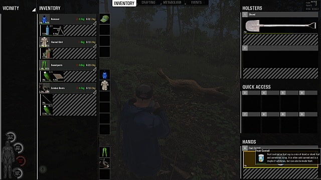 Inventory screen for SCUM survival