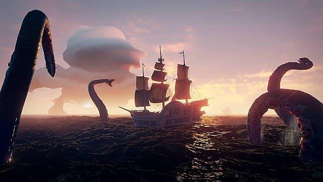 Hunting the Kraken in Sea of Thieves.