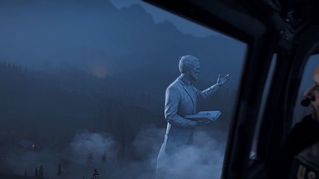 A statue of Joseph Seed as seen from a cockpit in Far Cry 5