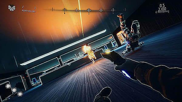 Player character infirst-person view falling backward while shooting handgun at enemy.