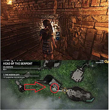 Above: Lara stands in front of the stone wall entrance to the serpent; below: the map of the entrance