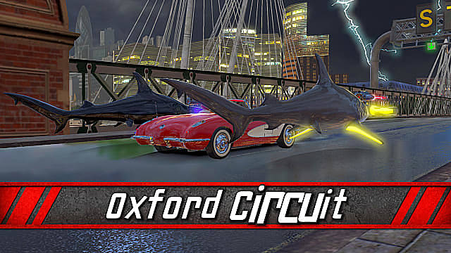 Two sharks racing a red car on a bridge in the oxford circuit.