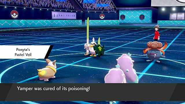 Ponyta using Pastel Veil in Pokemon Shield.