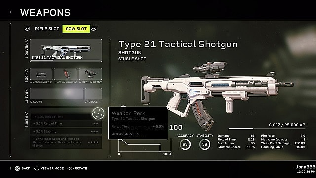 The weapons menu showing the weapon perks for the Type 21 Tactical Shotgun.