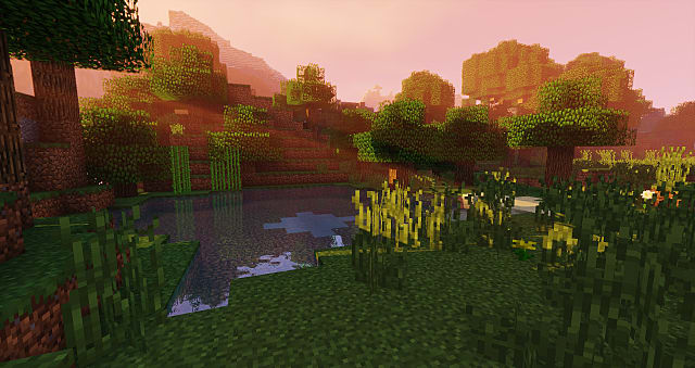 Beautiful Minecraft landscape using shaders.