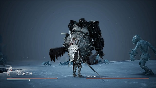 Adam holds a great sword standing on ice as the gigantic and fat Camber Luce walks toward him
