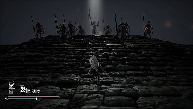 Adam on stone platform at base of stone stairs looks up to warriors holding spears and Yordo in the middle in a ray of light