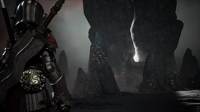 Close third person perspective on Adam as he enters the main nexus area; in front of him are glowing stones