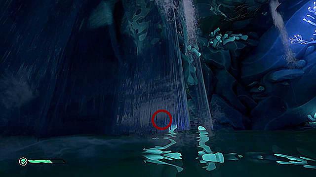 A lever hidden behind a wide waterfall.