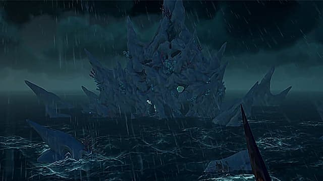The craggy Siren stronghold in dark, stormy seas.