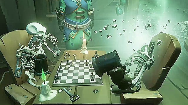 Two skeletons playing chess, one with its head exploding.