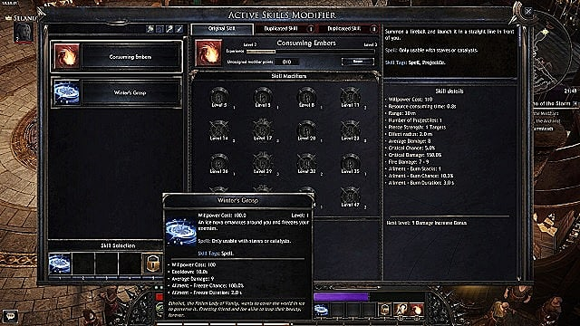 The active skills modifier menu in Wolcen: Lords of Mayhem.