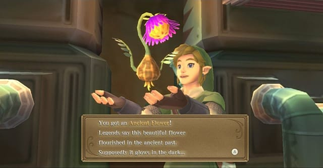 A purple Ancient Flower floating above Link's outstreatched arms.