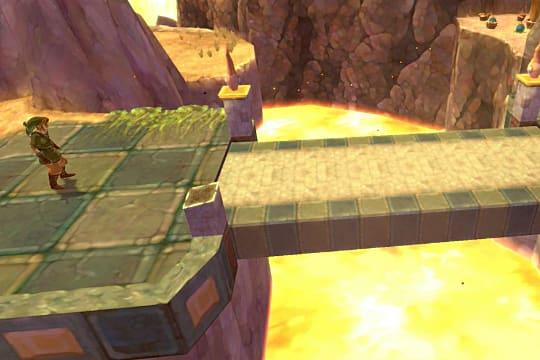 Link standing before an Eldin Temple bridge over a lava pit.