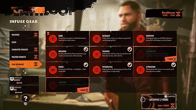 The Slabs upgrades menu.