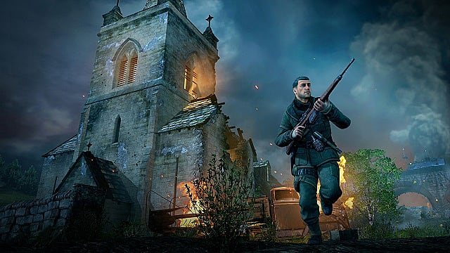 Karl runs through dark, ruined streets in Sniper Elite V2 Remastered
