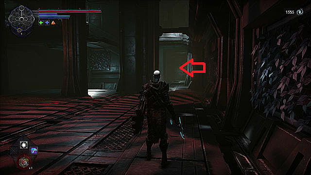 The player character stands next to a wall covered in vines as they look toward a fork at the end of a hallway.
