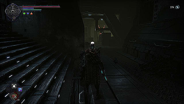 The spawn stands at the base of metal stairs in a dark alleyway, staring down a large pole-wielding Daemon.