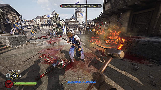 Blue armored Agatha footsoldier reeling from hit in fiery village.