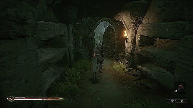 Solomon holding hallowed sword, running toward the wooden door of Fallgrim Tower.