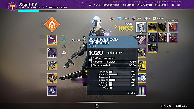 Warlock examining the Solstice Hood renewed armor challenges in their character inventory