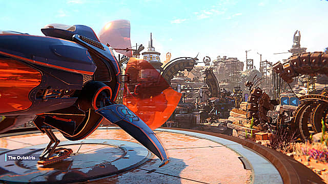 A black and orange spaceship on a landing platform overlooking the outskirts town.
