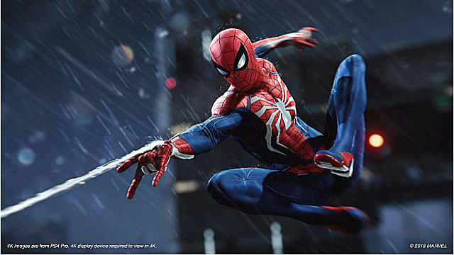 Spiderman shoots his web in the rain in Marvel's Spider-Man