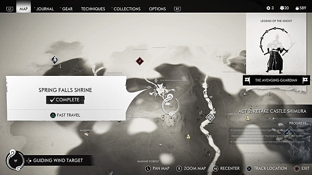 Spring Falls Shrine map location Ghost of Tsushima.