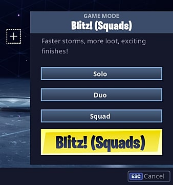 Screen showing selecting Blitz! (Squads) mode in Fortnite