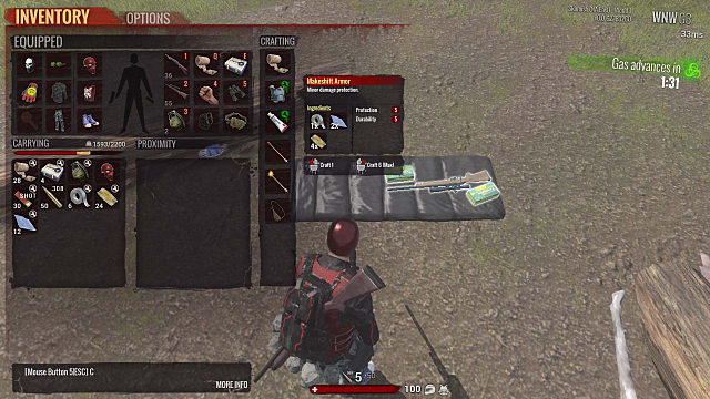 H1Z1 inventory and crafting screen