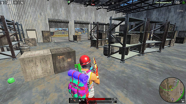 H1Z1 player with a very colorful backpack