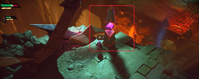 A purple co-op multiplayer stone in Darksiders: Genesis.