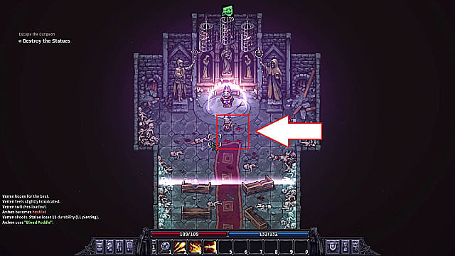 Avoiding blood tiles in the corrupted chapel while fighting the Ascended Archon.