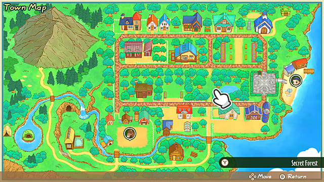 The colorful Mineral Town map gives an overview of the land and town itself.