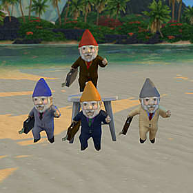 Four gnomes dressed in business suits, one grey, one black, one beige, one brown.