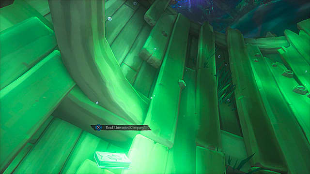A blue journal covered in green light on the floor of a ship's wooden hull, titled Unwanted Company.