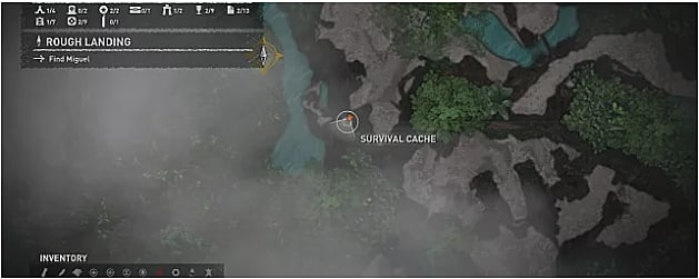 Map showing where to find the fifth survival cache